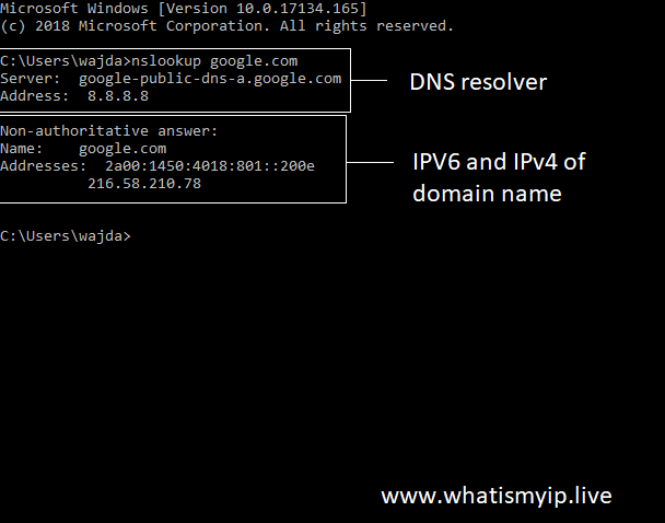 Find domain to IP through command prompt