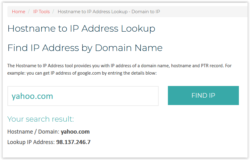 Domain to IP through whatismyip.live